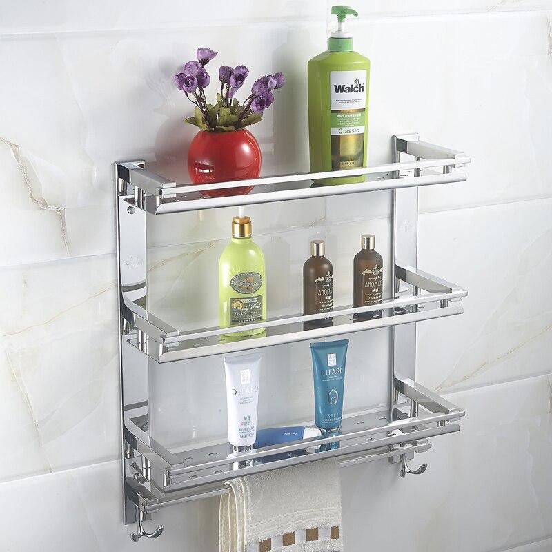 Фото MTTUZK DIY Stainless steel 3 layers washing machine racks towel bar with hook bathroom Shelves kitchen and toilet storage rack