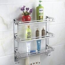 MTTUZK DIY lavadora de acero Inoxidable de 3 capas bastidores barra de toalla con gancho de baño de rack de almacenamiento de cocina y aseo