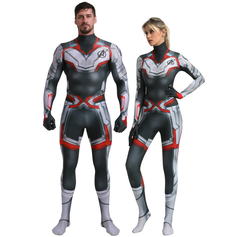 Adult Men Women Endgame Costume 4 Quantum Realm Zentai Jumpsuit Halloween Superhero Party Cosplay