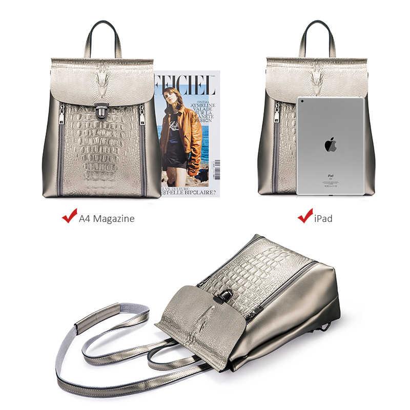 REALER рюкзак женский, рюкзак женский кожаный, рюкзак школьный для девочек подростков, бренд модный женский рюкзак из сплит-кожи, женская вместительная сумка на плечо с изящными принтами серебряный/розовый рюкзак