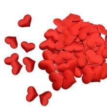 100 szt. 35mm romantyczna gąbka satynowa płatki serca konfetti weselne stolik przy łóżku płatki serca ślub dekoracja walentynkowa