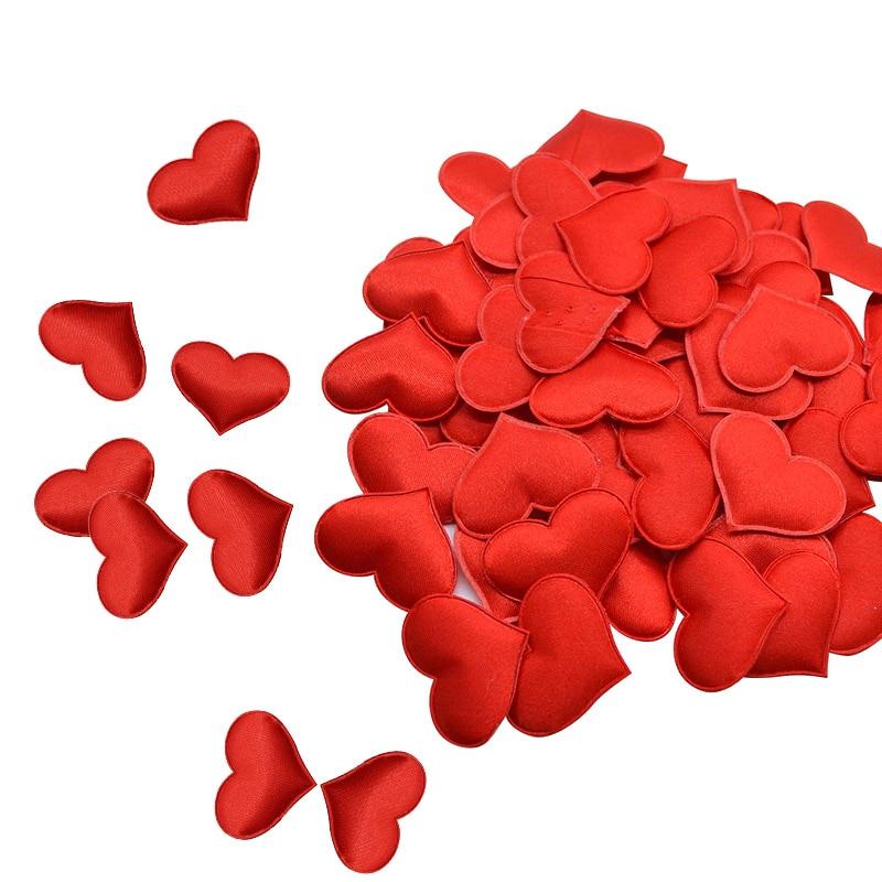 100Pcs 35mm Romantic Sponge Satin Fabric Heart Petals Wedding Confetti Table Bed Heart Petals Wedding Valentine Decoration(China)