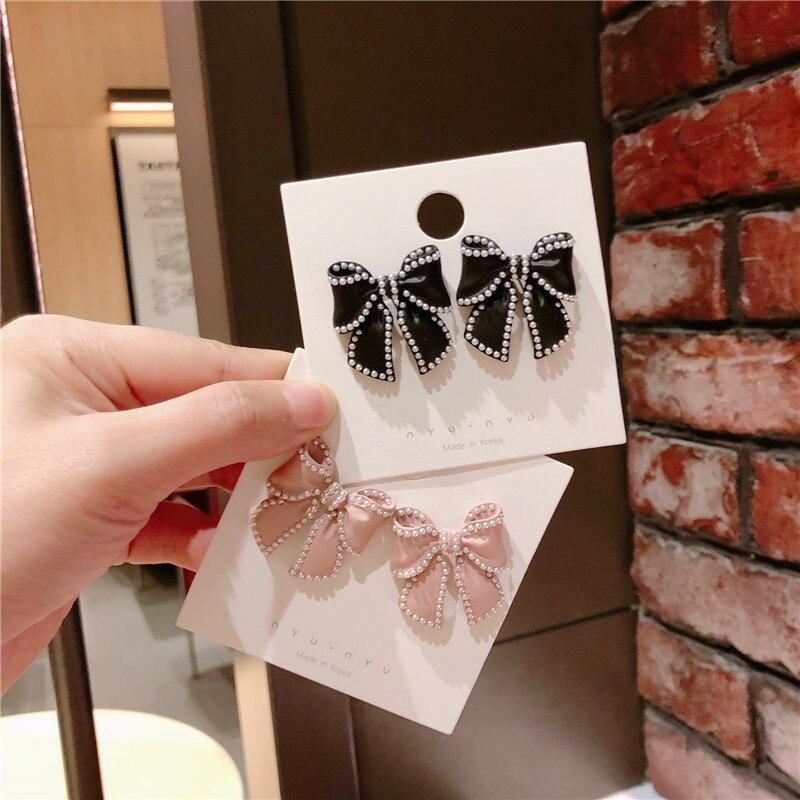 Korean Fashion Jewelry Luxury Romantic Enamel Pearl Bow Bowknot Metal Butterfly Stud