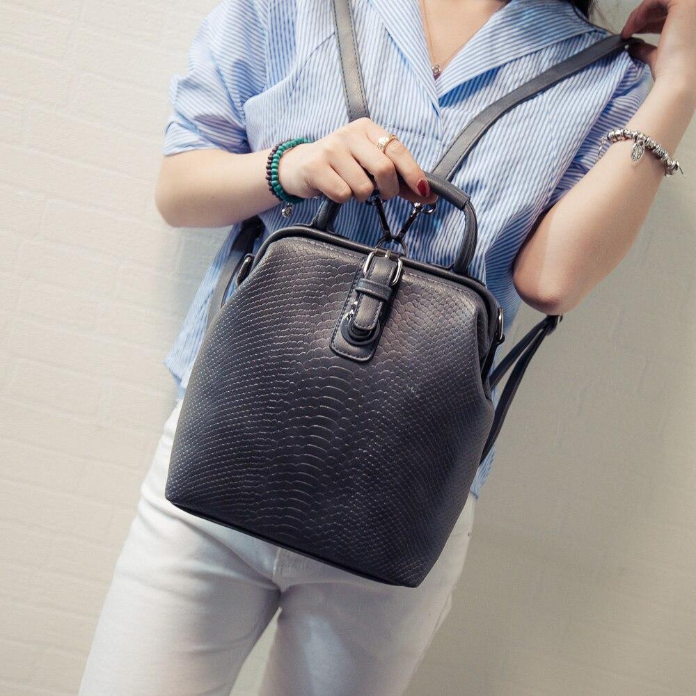 Women Fashion Crocodile Pattern Retro City Backpack Black 2017 Ladies Women s PU Leather Rucksack Bag
