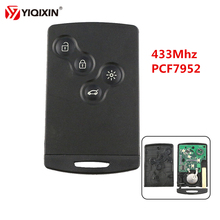YIQIXIN 4 Button Remote Key Card Smart Car Key 433Mhz PCF7952 Chip For Renault Megane Scenic Laguna Koleos Clio Uncut Blade free shipping best price 1pcs excellent quality 3 button smart card for renault megane scenic with 7947 chip 433mhz