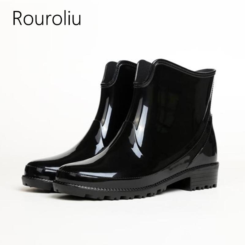 Rouroliu Pvc Rain Boots Women Non Slip Short Ankle -3235