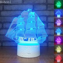 Sailboat Форма 3d ночные светильники креативные игрушки светодио