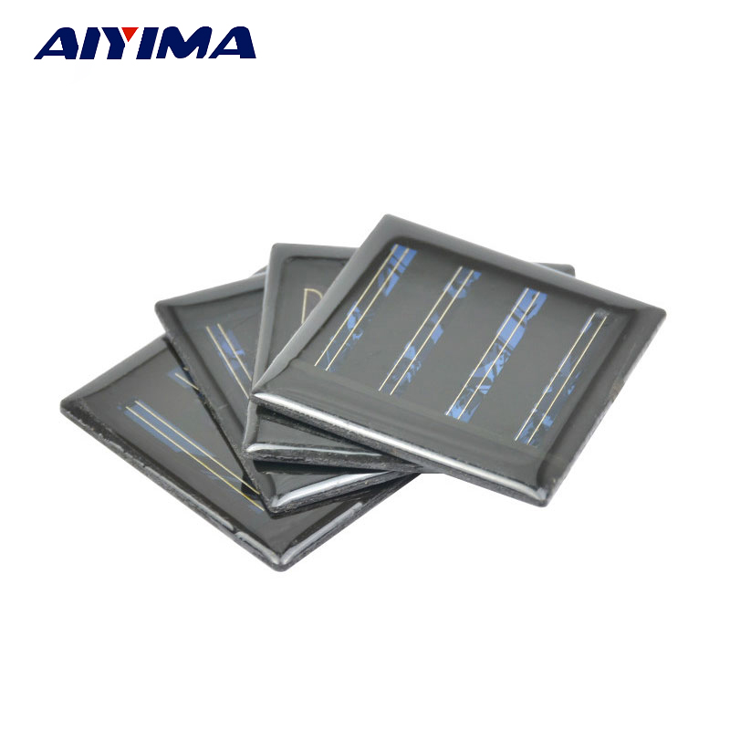 AIYIMA 10pcs 2V 30mA Epoxy Solar Panel China Solar Cell Price Photovoltaic Cells DIY 18650 Battery Charger Power Bank 55*55MM