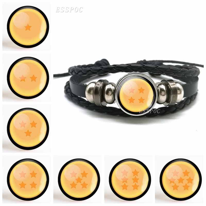 Fashion Accessories 7 Dragon Ball Pendant Button Leather Bracelet Sun Goku Super Saiyan Jewelry Anime Glass Dome Women Men Gift