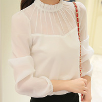 DERUILADY Fashion Women Long Sleeve Blouse 2018 Office Lady Loose Womens Tops And Blouses Sexy Transparent