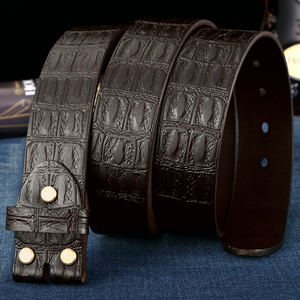 Image 3 - Genuine Leather Belts Without Buckle for Men Brand Strap Vintage Jeans Cowskin Strap With One Layer Leather 3.8cm Wide