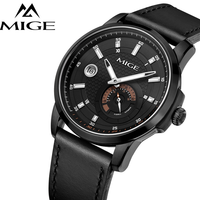 MIGE Watch Men Synthetic Sapphire Crystal Calendar Luminated Japan Movement Waterproof Cowhide Leather Strap Relogio Masculino mige fashion quartz watches men synthetic sapphire crystal rhinestones japan movement genuine leather watchband relogio feminino