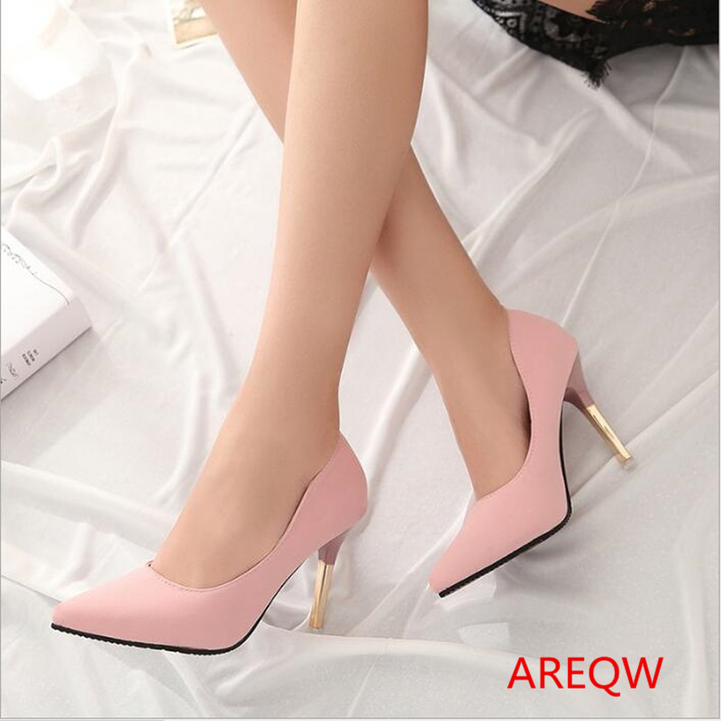 AREQW 2017 spring elegant ol single shoes shallow mouth pointed toe high-heeled shoes thin heels sexy pink high-heeled female 8cm 2015 spring and autumn single shoes cutout hasp pointed toe high heels ol thin female fashion sandals