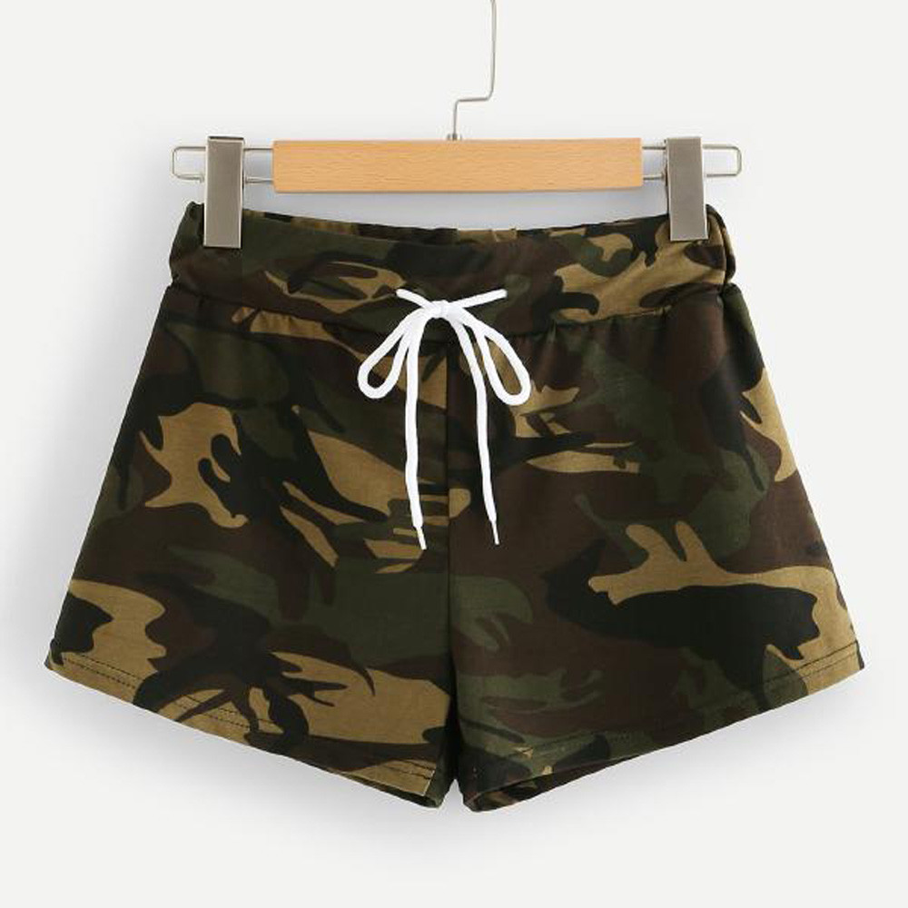 Summer Fashion Womens Casual Hot Drawstring   shorts   Waist Camo   Shorts   Trousers holog raphic clothes