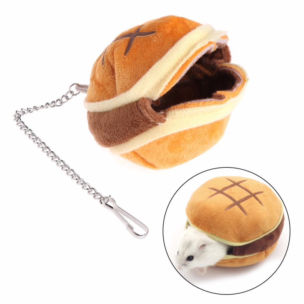 New Hamburger Shaped Hamster Nest Hanging Cage House Winter Warm Stuffed Squirrel Pets Bed Small Animal Supplies C42