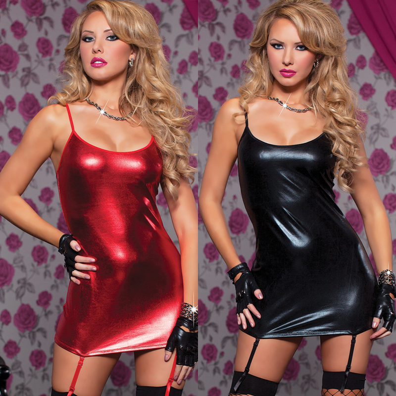 Porno Sexy Red Women's Lingerie Underwear PU Leather Hot Babydoll Sexy Sleepwear Dress  Chemises Sexy Costume