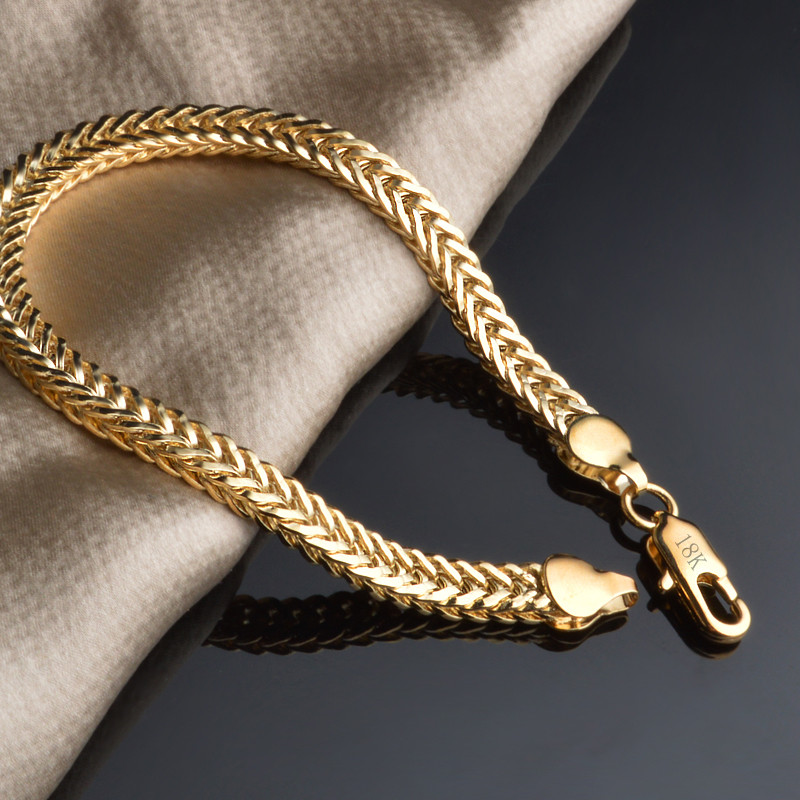 Classic Shiny 18k Gold Snake Chain Bracelet Male Female Jewelry For Daily Party Travel Best popular Free Shipping
