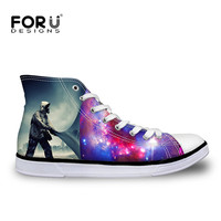 FORUDESIGNS High Top Women Shoes Cool Galaxy Star Space Canvas Shoes For Women Comfortable Women Flat