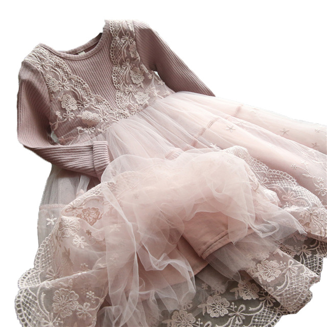 2017 New Autumn Winter Girls Dress 2017 Casual Long Sleeves LaceMesh Kids Dresses for Girl Autumn Clothing Cute Princess Dress princess dress girl kids dresses for girls spring clothing new fashion casual girls dress with long sleeves cotton 70c1096