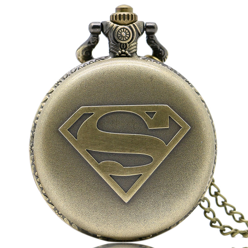 Vintage Bronze Superman Power  Cartoon Logo Long Chain Necklace Pocket Watch