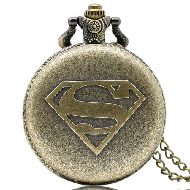 Vintage Bronzo Superman Di Potere Del Fumetto Logo A Lunga Catena Della Collana