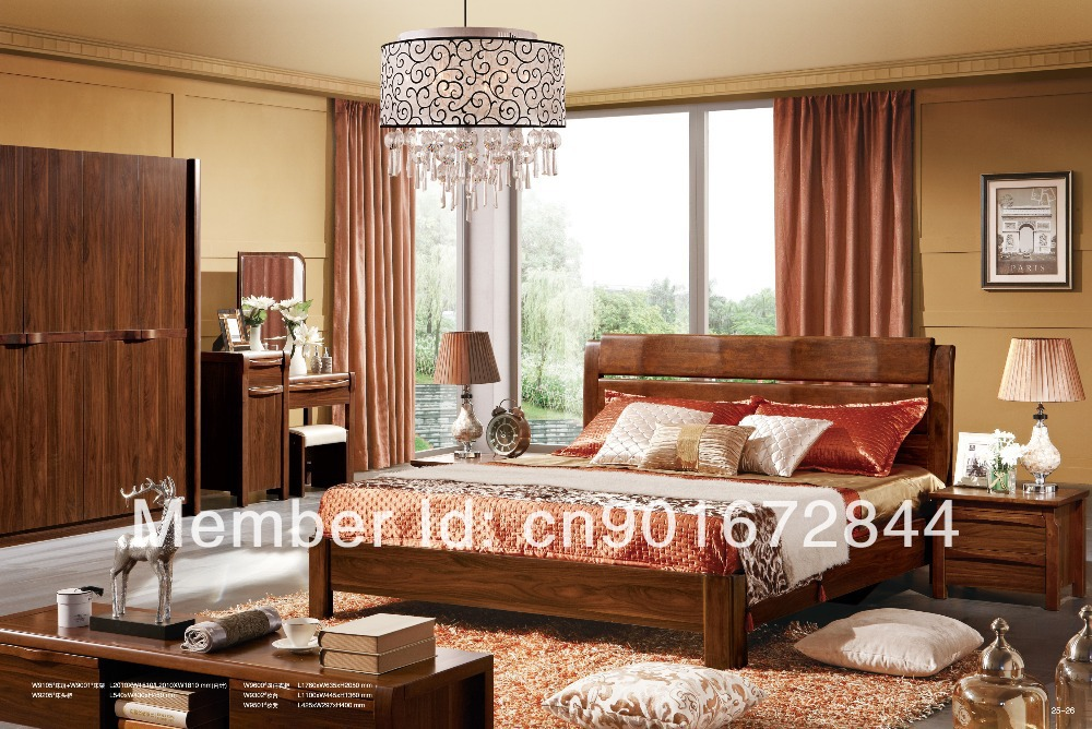 Solid Wood Furniture Modern Wood Bed Classical Bed