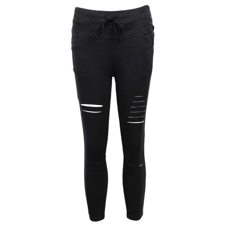 Hot Skinny Jeans Women Denim Pants Holes Destroyed Knee Pencil Pants Casual Trousers Black White Stretch Ripped Jeans