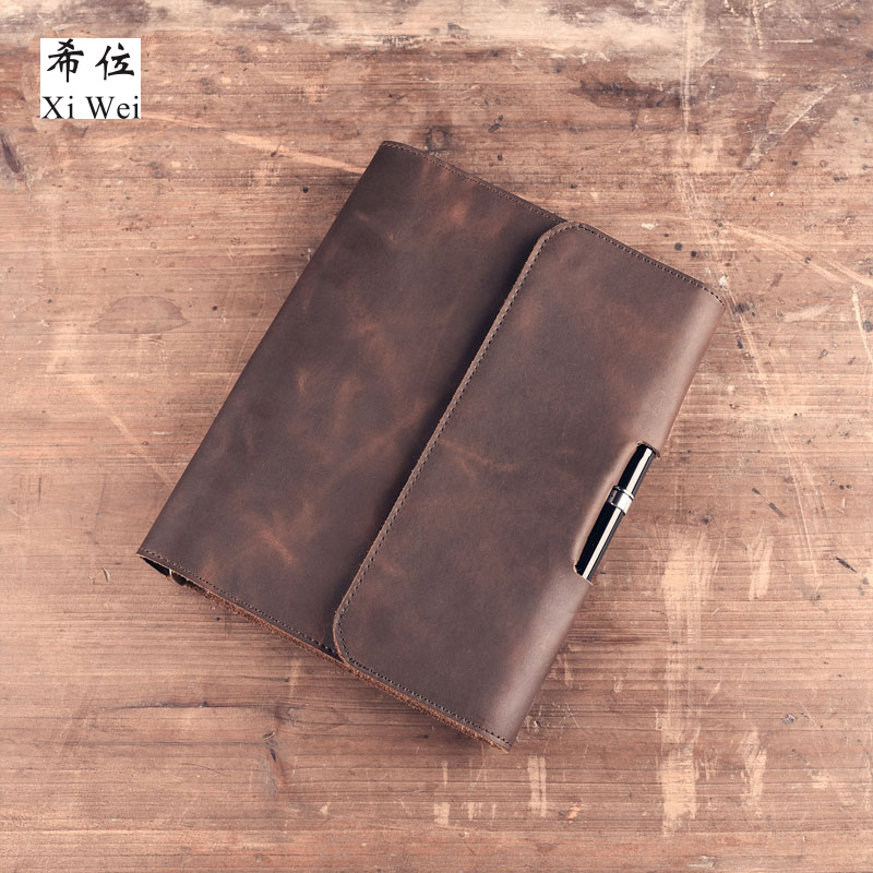 Original Retro Handmade Leather Cowhide Notepad A5 Loose Leaf Notebook Diary Custom-made 2018 a5 retro buckle loose the high grade leather notebook business notebook diary custom stationery