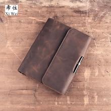 купить Original Retro Handmade Leather Cowhide Notepad A5 Loose Leaf Notebook Diary Custom-made дешево