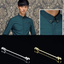 6.5cm Gold Silver Tie Clips For Men Stainless Steel Gold Silver Collar Pin Men Brooch Tie Collar Pin For Skinny Tie Shirt P20