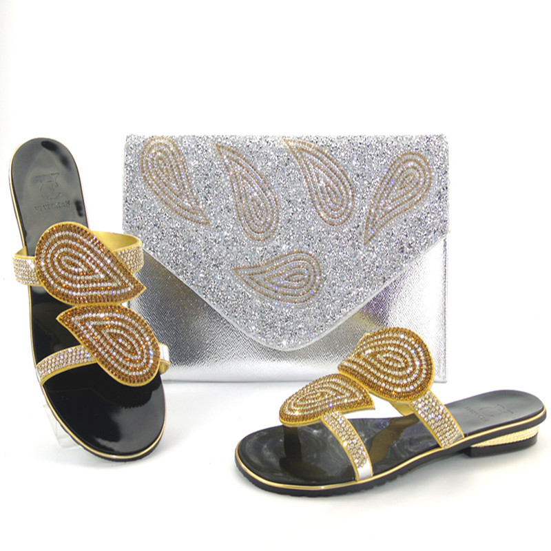 ФОТО Fashion Style Party African Shoes And Bags set Beautiful High Heel With Handbag For Women Dresses THS17-08 Silver Color