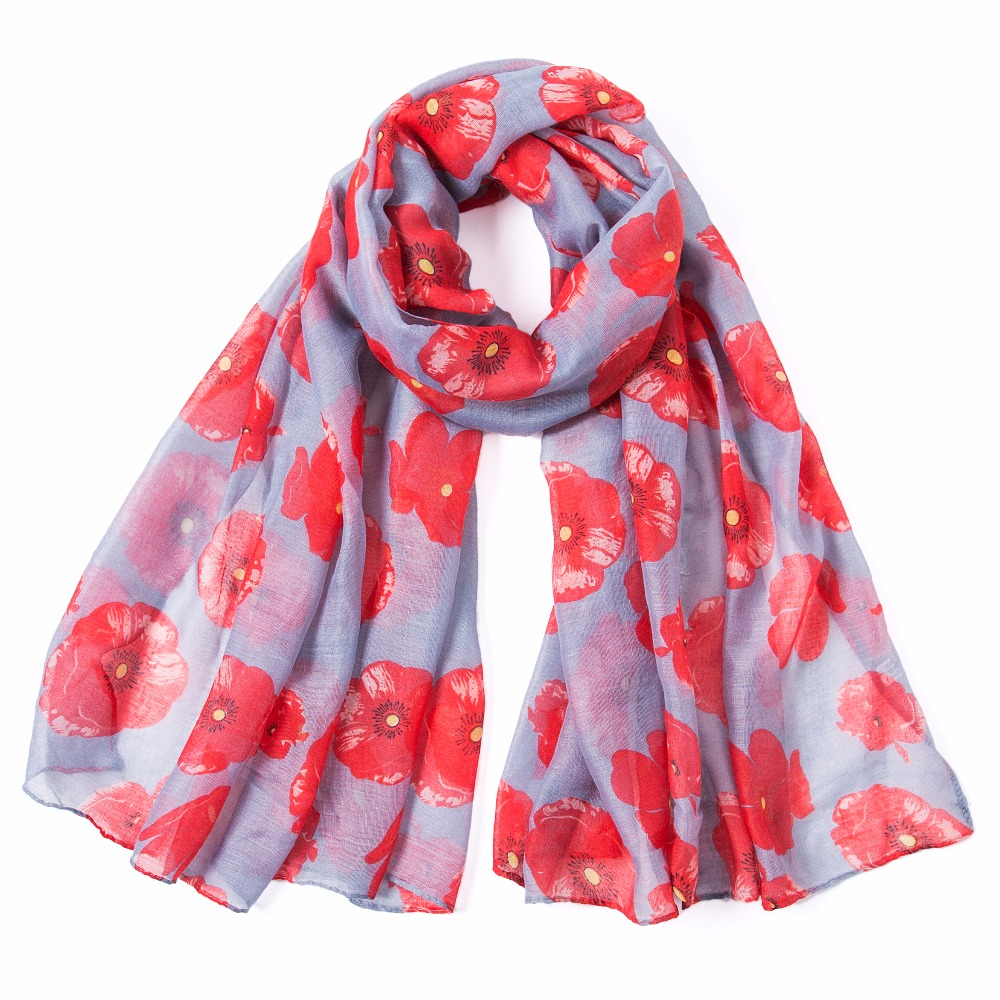 2018 Winter Fashion poppy Flower Print Scarf Women Wrap Shawl Women Accessories Poppies Scarves Long Scarf Free Shipping in Women 39 s Scarves from Apparel Accessories
