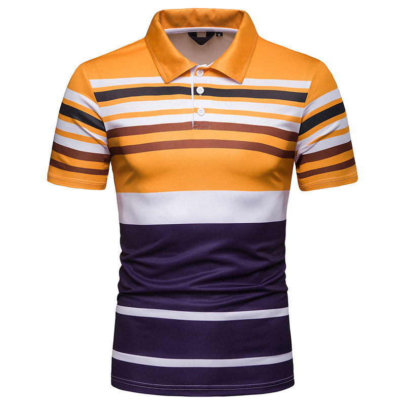 Striped   Polo   Shirt Men 2019 Summer New Turn Down Collar Short Sleeve   Polo   Shirts Men Business Casual Breathable   Polo   Homme XXL