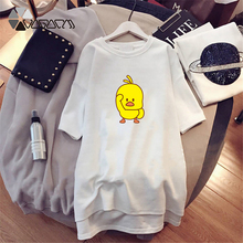Small Yellow Duck Print Summer Dresses Women Fashion Loose Funny Black White Plus Size Casual Dress Short Sleeve Streetwear