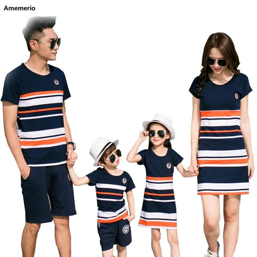 2019 Zomer Gestreepte T-shirt Outfits Moeder En Dochter Jurken En Vader Zoon Baby Jongen Meisje Familie Bijpassende Familie Outfits