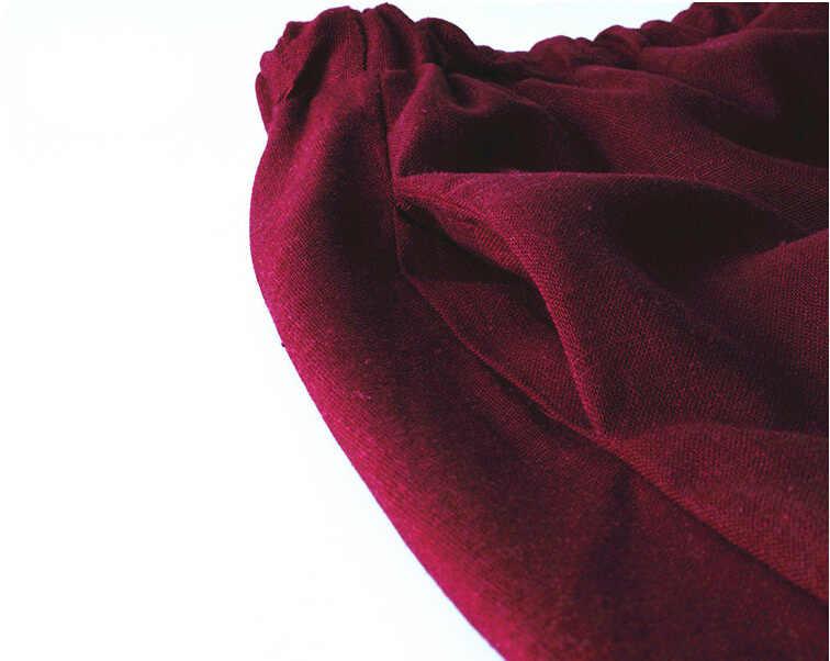10 di Colore solido di Nuovo Gonne Lunghe Delle Donne Della Boemia Casual di Lino Elastico in Vita Cerchio Grande Pendolo UNA Linea di Gonna di Cotone
