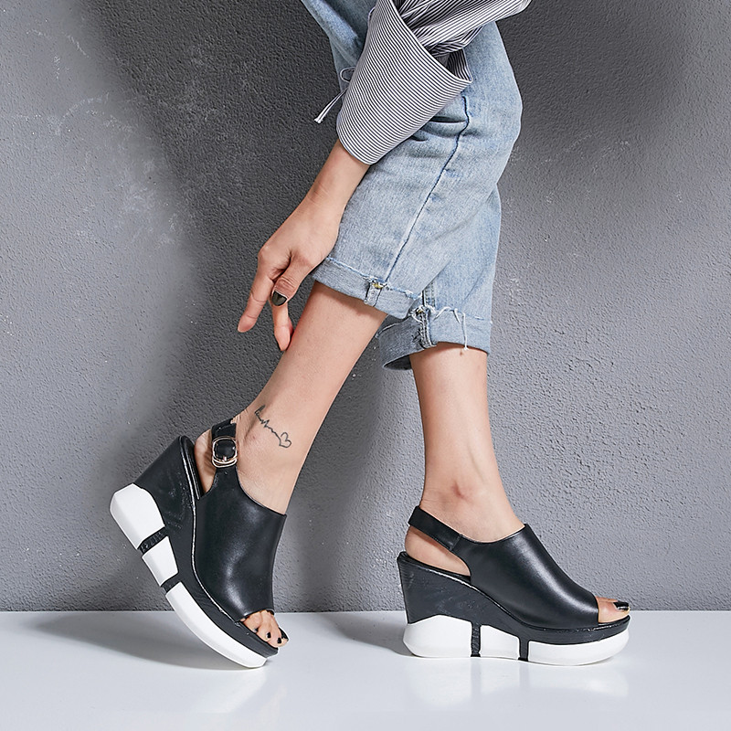 YMECHIC 2019 Summer Peep Toe Real Leather Women Sandals Wedges Shoes Black White Platform Buckle Slingbacks