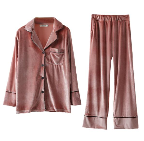 Autumn Winter Women Velour Sets Sleepwear Loose Pajamas Pants Nightwear Button Home Clothes