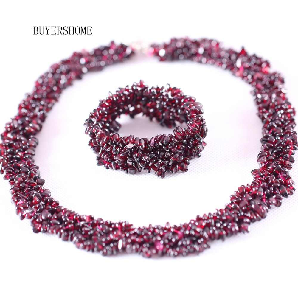 Free Shipping New without tags Women Jewelry Set Irregular Shape Chip Beads Natural Stone Red Garnet Necklace Bracelet E042 H041