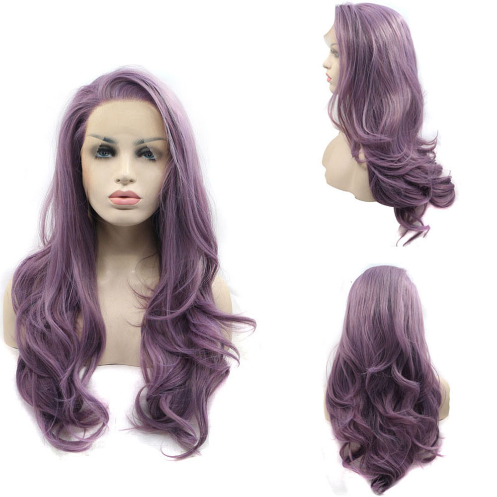 все цены на New Women's Fashion Wig Purple Synthetic Hair Long Wigs Wave Curly Wig+Cap 0804