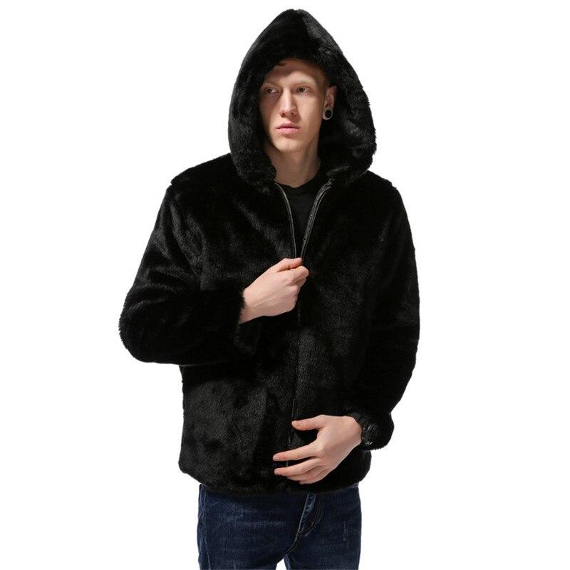 Горячие Для мужчин меху куртка с капюшоном осень зима Шуба с имитацией кроличьей шерсти Теплая куртка искусственный мех Размеры L, XL, XXL, XXXL