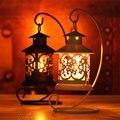 Retro artesanías de Decoración De Hierro de estilo Marroquí Candelabro Candelero Vela Lámpara Linterna Festival de suministros de Escritorio