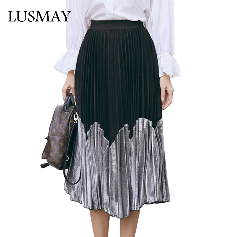 Fashion Pleated Skirt Spring 2018 New Arrival Patchwork High Waist Long Skirt Women Streetwear ...