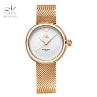 Shengkeใหม่แฟชั่นสุภาพสตรีควอตซ์นาฬิกานาฬิกาแบรนด์ชั้นนำสแตนเลสตาข่าย