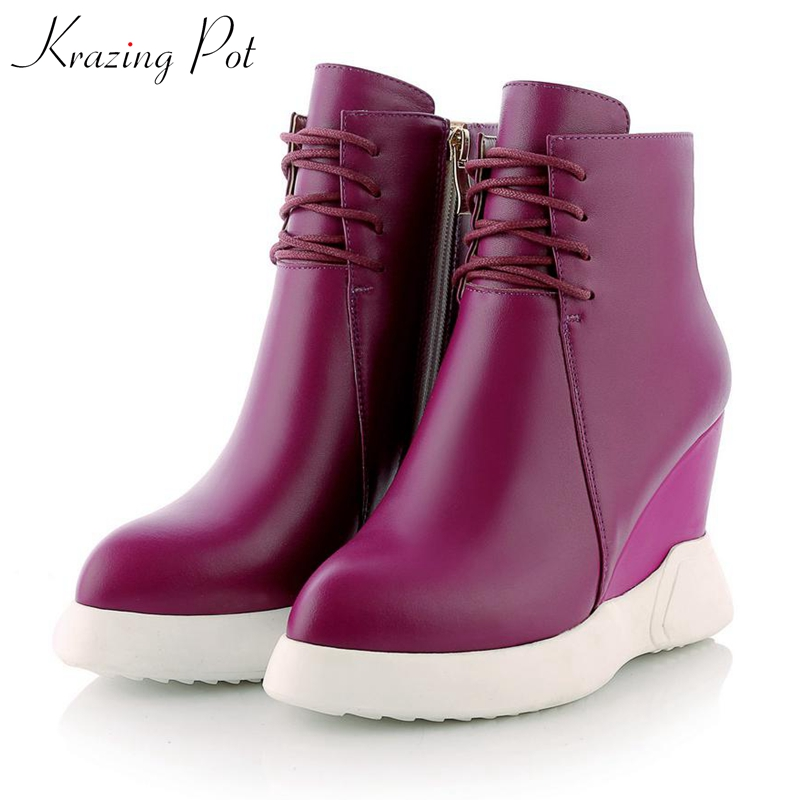 Krazing Pot 2019 genuine leather extreme high heels pointed toe Western cowboy boots luxury leisure increasing ankle boots L9f2