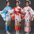 Женский Японский Традиционное Платье Женщины Юката Костюм Атласные Кимоно Платье Павлин Венинг Платье Танцевальное Платье 89