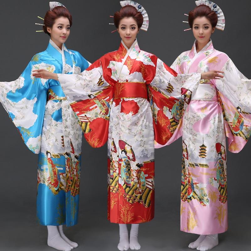 Ženska japanska tradicionalna haljina Žene Yukata kostim Saten Kimono haljina Peafowl Vening haljina Izvedba Dance haljina 37