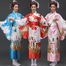 Female Japanese Traditional Dress Women Yukata Costume Satin Kimono Dress Peafowl Vening Dress Performance Dance Dress 37