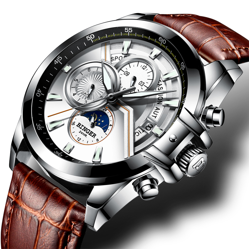 Switzerland BINGER Watch Men Luxury Brand Men Watches Moon Phase Luminous Watches Male waterproof Mechanical Wristwatches