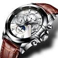 Швейцарские мужские часы BINGER, роскошные Брендовые мужские часы, светящиеся часы с фазой Луны, мужские водонепроницаемые механические наруч...